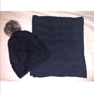 Navy Blue Infinity Scarf & Hat